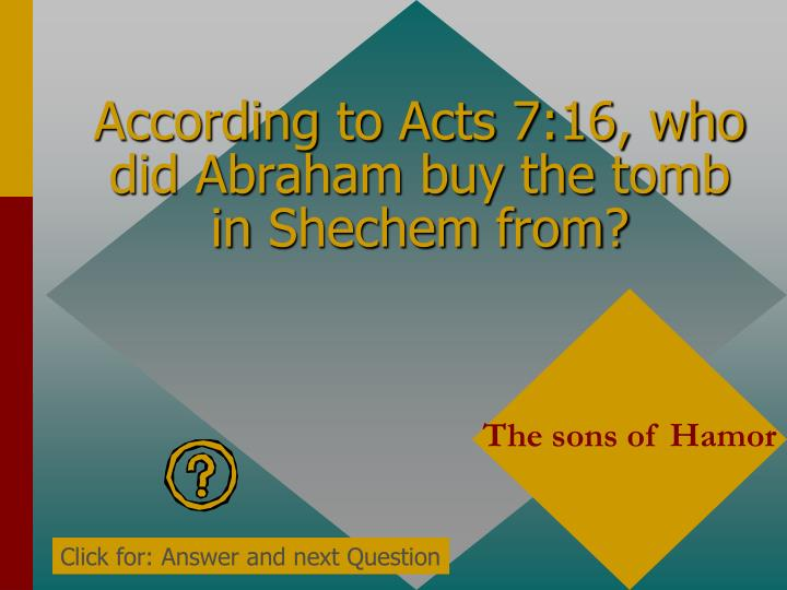 According to Acts 7:16, who did Abraham buy the tomb in