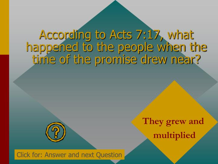 According to Acts 7:17, what happened to the people when the time of the promise drew near?