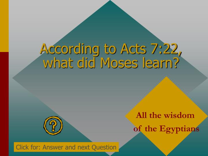 According to Acts 7:22, what did Moses learn?