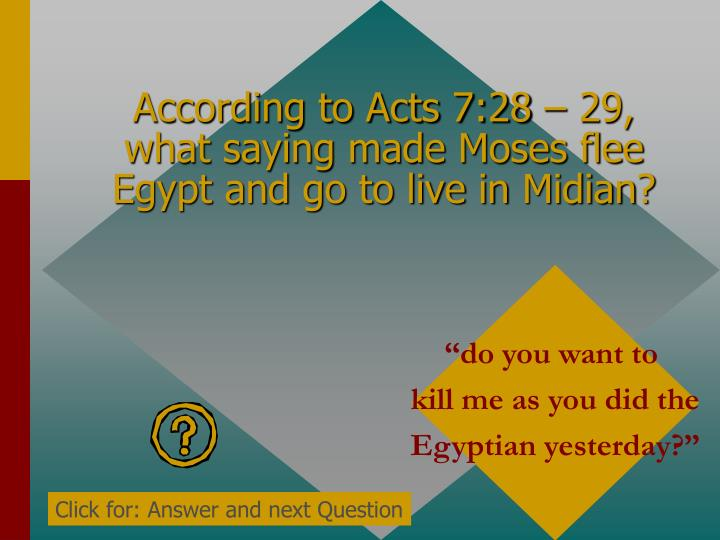 According to Acts 7:28 – 29, what saying made Moses flee Egypt and go to live in