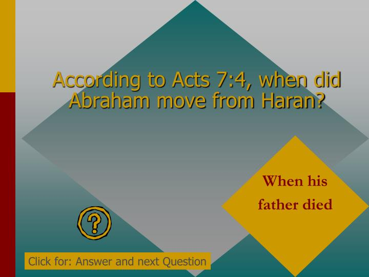 According to Acts 7:4, when did Abraham move from Haran?