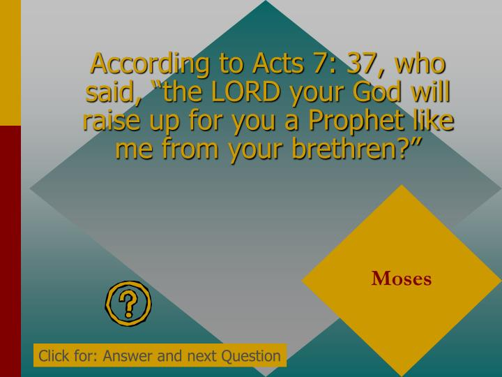 """According to Acts 7: 37, who said, """"the LORD your God will raise up for you a Prophet like me from your brethren?"""""""