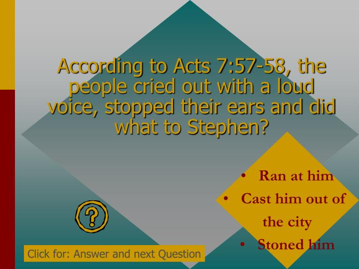 According to Acts 7:57-58, the people cried out with a loud voice, stopped their ears and did what to Stephen?
