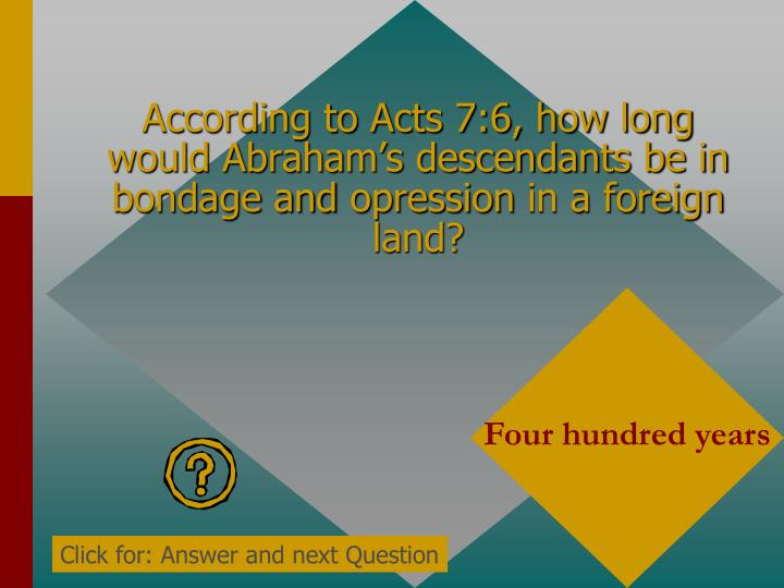 According to Acts 7:6, how long would Abraham's descendants be in bondage and