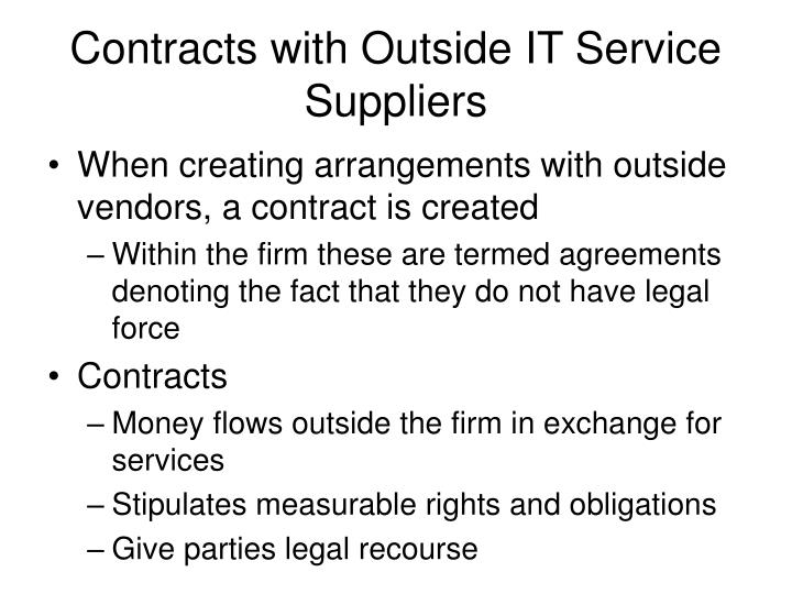Contracts with Outside IT Service Suppliers