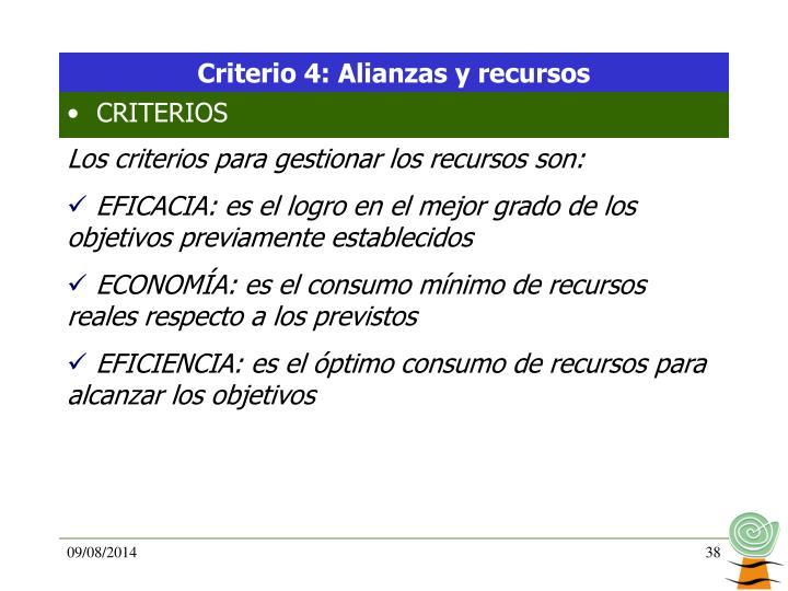 Criterio 4: Alianzas y recursos