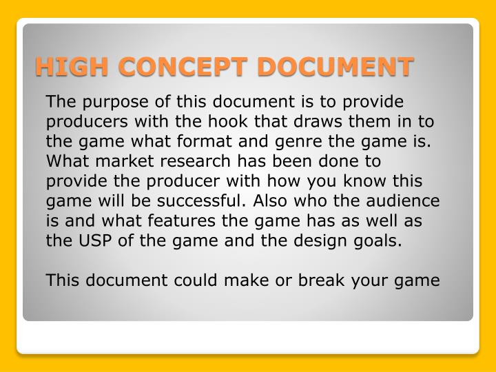 PPT BTEC Creative Media Production PowerPoint Presentation ID - High concept document game design