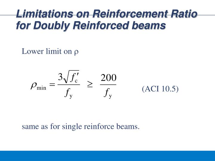 Limitations on Reinforcement Ratio for Doubly Reinforced beams