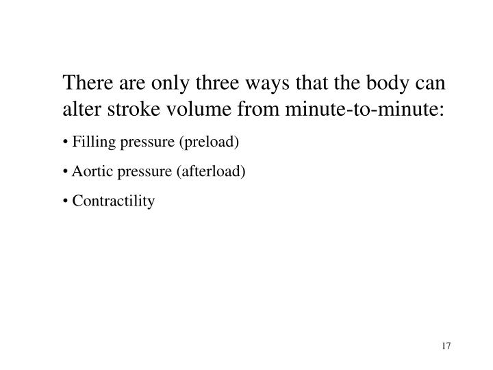 There are only three ways that the body can alter stroke volume from minute-to-minute: