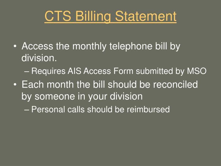 Cts billing statement