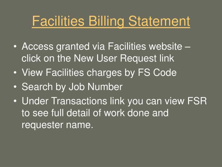 Facilities Billing Statement