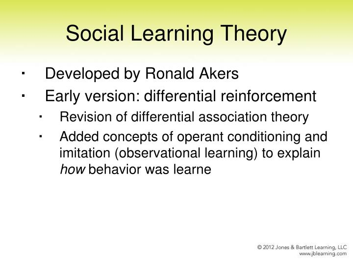social learning theory developed its reputation Social learning theory can have a number of real-world applications for example, it can be used to help researchers understand how aggression and violence might be transmitted through observational learning by studying media violence, researchers can gain a better understanding of the factors that.