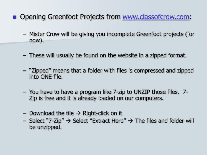 Opening Greenfoot Projects from
