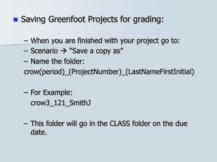 Saving Greenfoot Projects for grading: