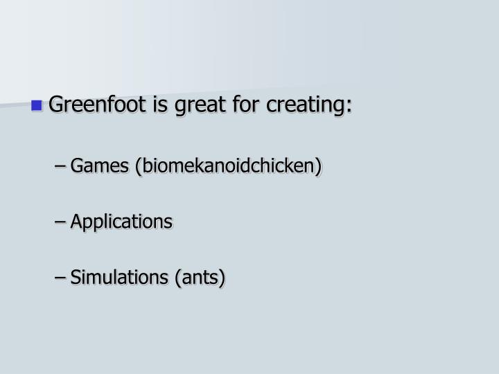 Greenfoot is great for creating: