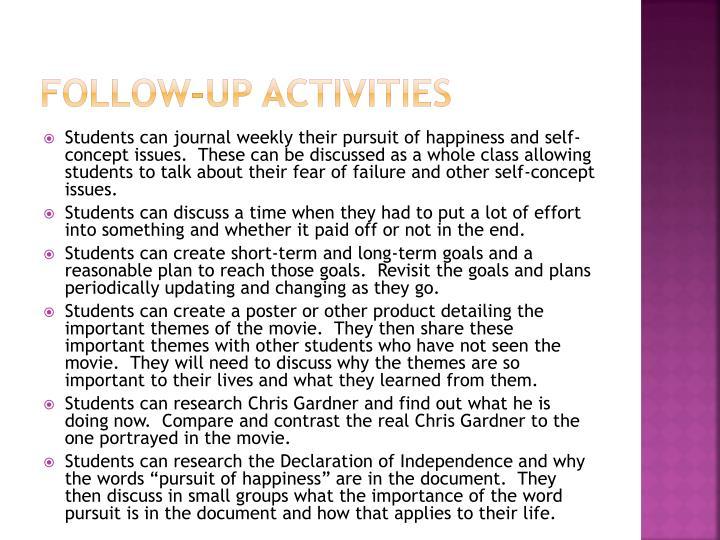 Follow-up activities