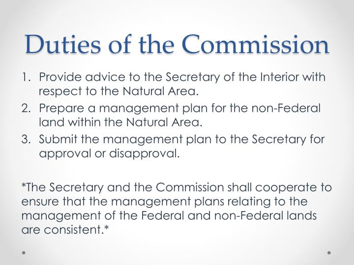 Duties of the Commission