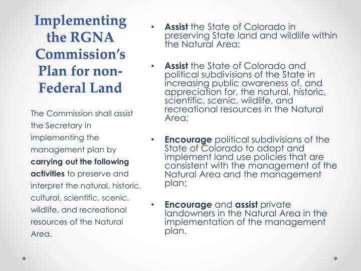 Implementing the RGNA Commission's Plan for non-Federal Land