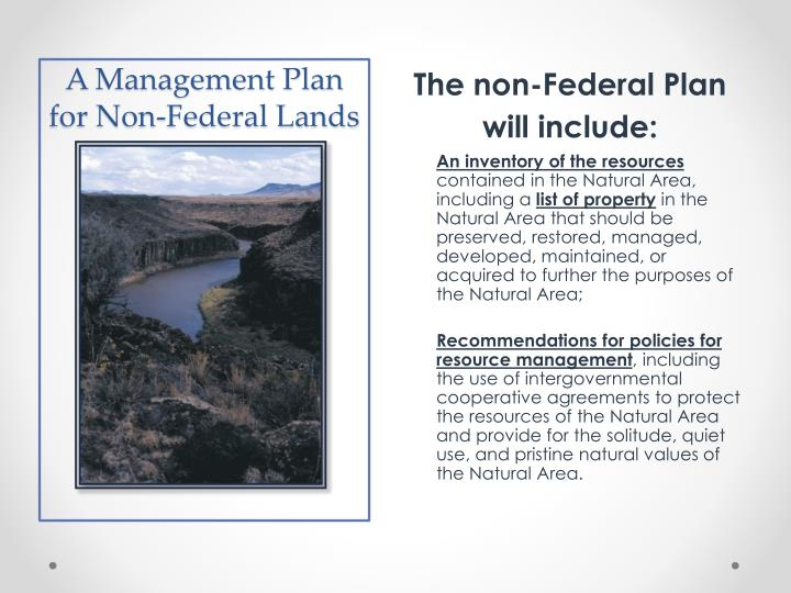A Management Plan for Non-Federal Lands