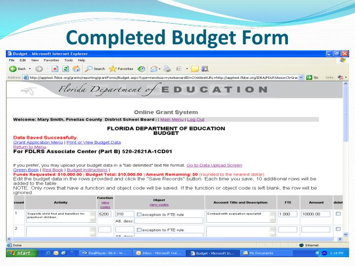 Completed Budget Form
