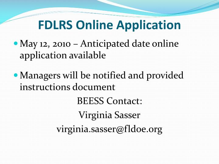FDLRS Online Application