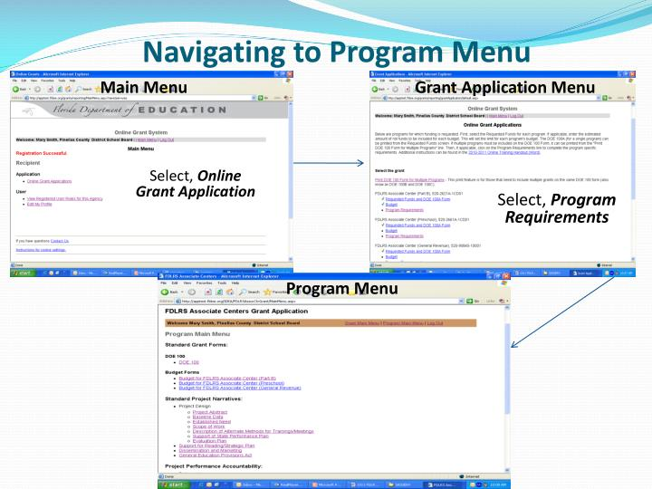 Navigating to Program Menu