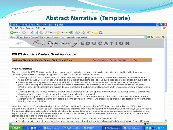 Abstract Narrative  (Template)