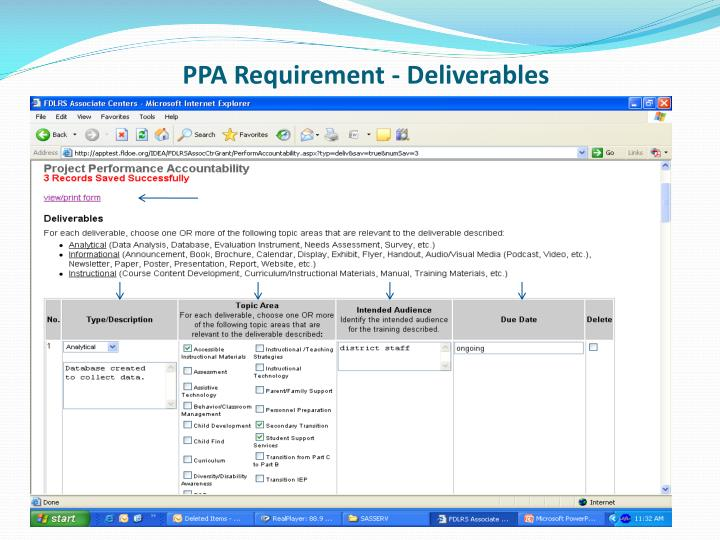 PPA Requirement - Deliverables