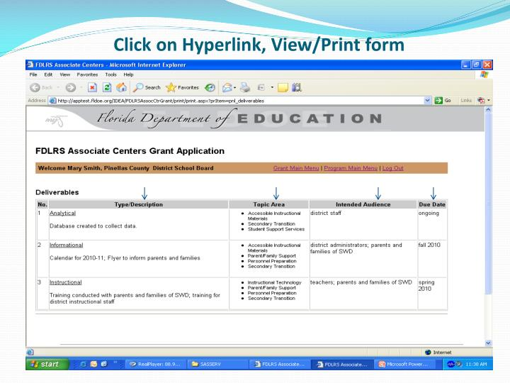 Click on Hyperlink, View/Print form