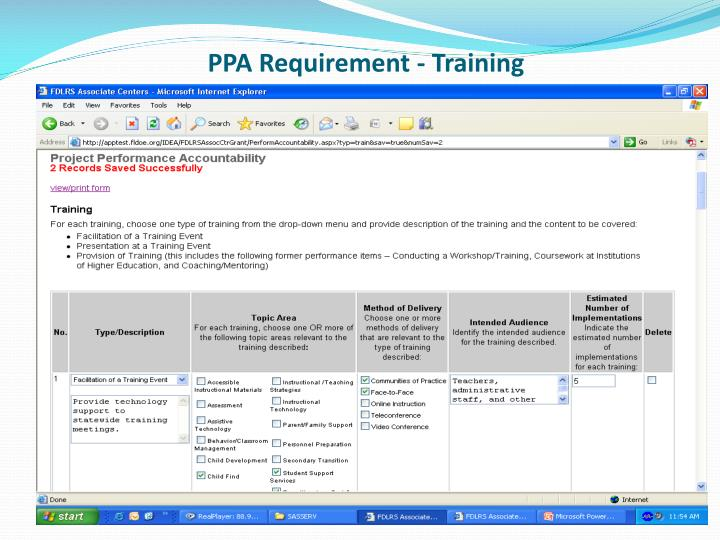 PPA Requirement - Training
