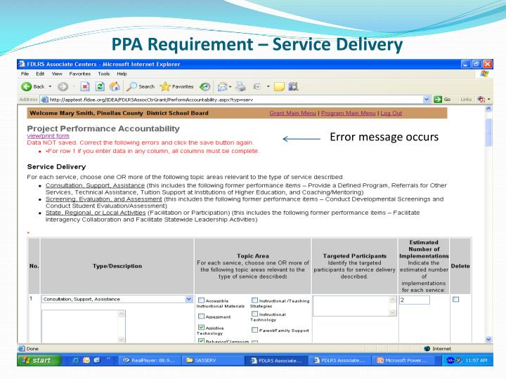PPA Requirement – Service Delivery