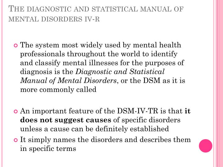 diagnostic and statistics manual for mental disorders essay Available in: paperback this new edition of diagnostic and statistical manual of mental disorders (dsm-5®), used by clinicians and researchers to.