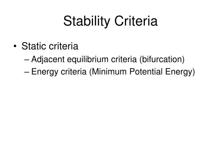 Stability Criteria