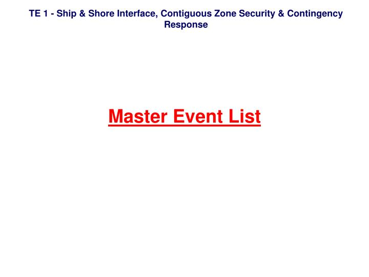 Master Event List