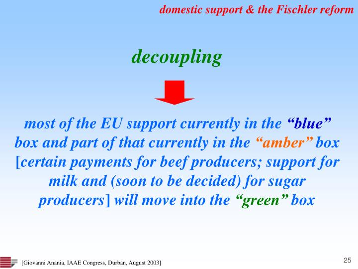 domestic support & the Fischler reform