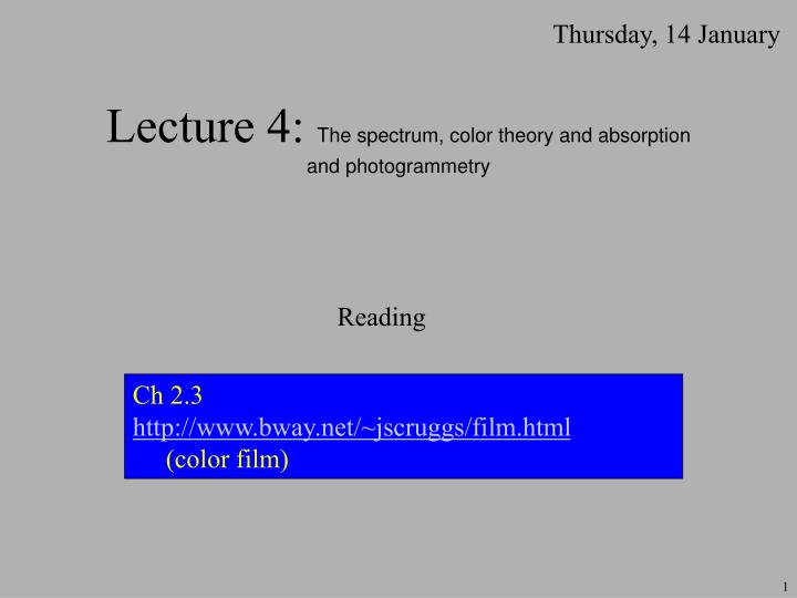Lecture 4 the spectrum color theory and absorption and photogrammetry