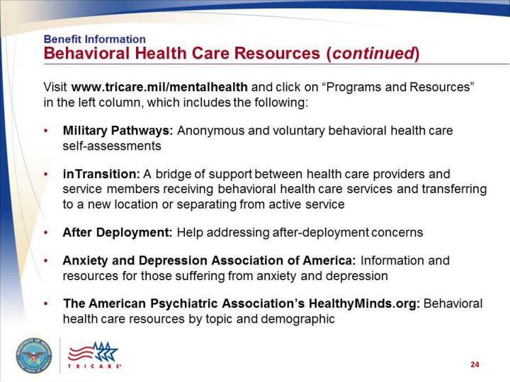 Benefit Information: Behavioral Health Care