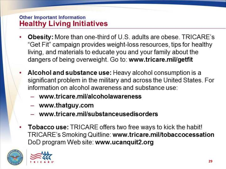 Other Important Information: Healthy Living Initiatives