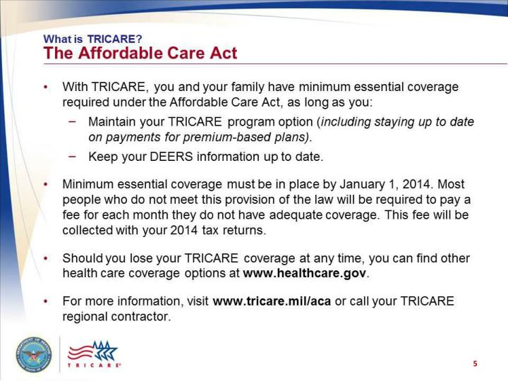 What is TRICARE? The Affordable Care Act