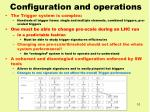 configuration and operations