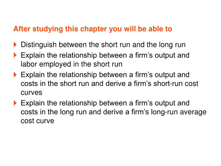 After studying this chapter you will be able to