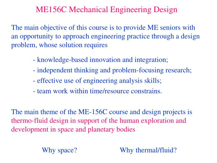Ppt Me156c Mechanical Engineering Design Powerpoint Presentation Free Download Id 3096739
