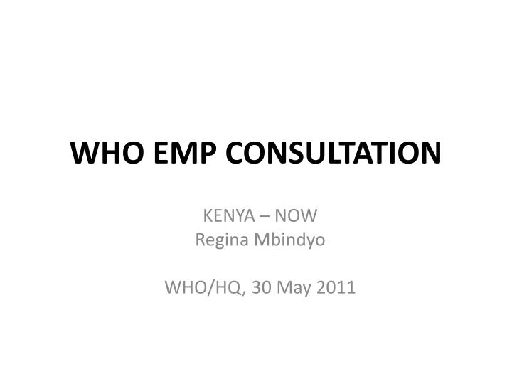 who emp consultation n.