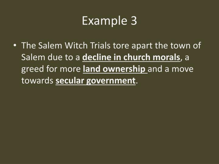 thesis statement for salem witch trials The salem, massachusetts, witch trials of 1692 have fueled fears, feuds, politics and religion for the last 300 years the events surrounding the trials still affect our society today many essay topics concerning the salem witch trials can be derived from the multitude of information that we have, thanks to the.