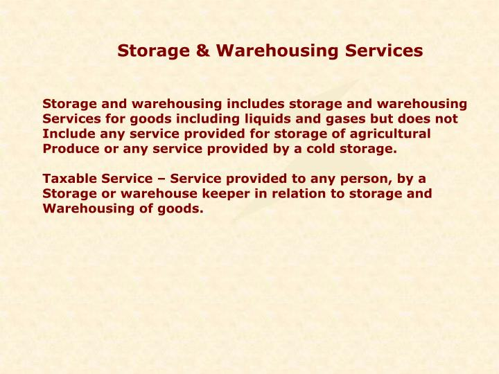 Storage & Warehousing Services