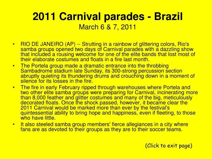2011 carnival parades brazil march 6 7 2011