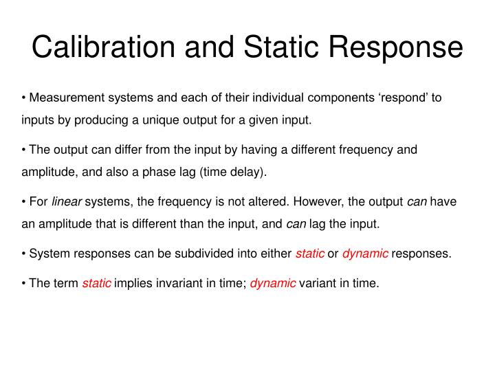 calibration and static response n.