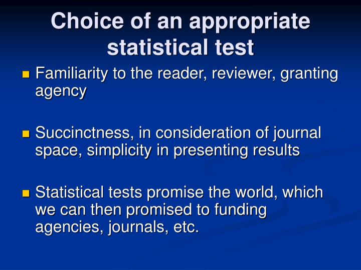 Choice of an appropriate statistical test