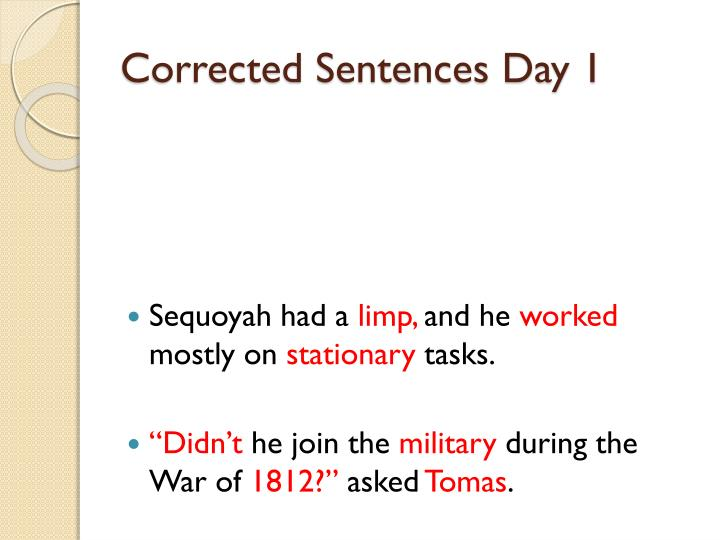Corrected Sentences Day 1