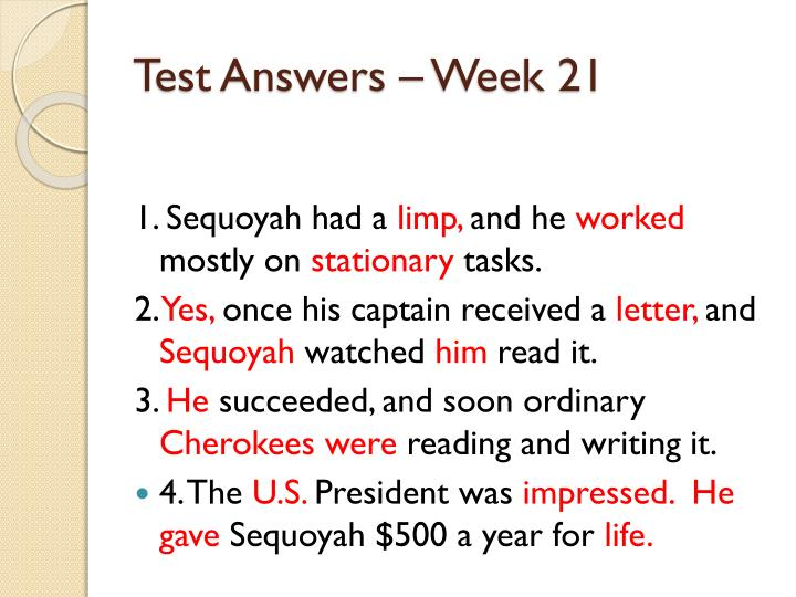 Test Answers – Week